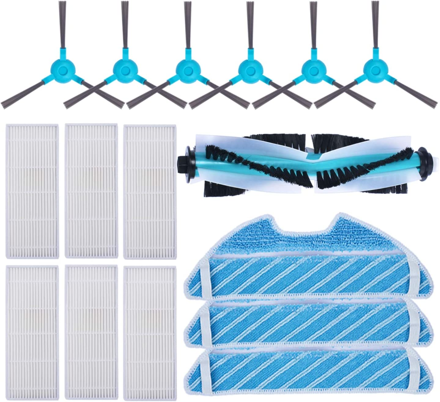 KEEPOW Kit Accesorios de Recambio para Cecotec Conga Excellence 1290/1390 Robot Aspiradora, Material Premium, Pack Familiar de 6 Cepillos Laterales+ 6 Filtros + 3 Mopas + 1 Cepillo Principal