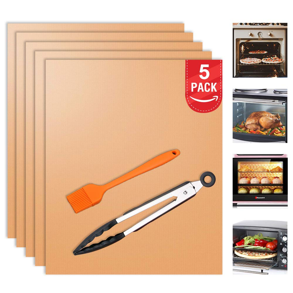 Besego Oven Liners, Set of 5 Non-Stick Oven Mats with Tong and Basting Brush, FDA-Approved Oven Accessories, Use for Electric, Gas, Microwave, and Toaster Ovens (Copper)