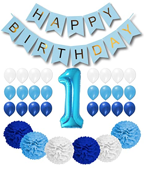 Happy 1st Birthday Boy.1st Birthday Boy Decorations Royal Blue Light Blue And White Happy Birthday Balloons Blue Happy Birthday Banner Blue Foil 1 Number Balloon 6
