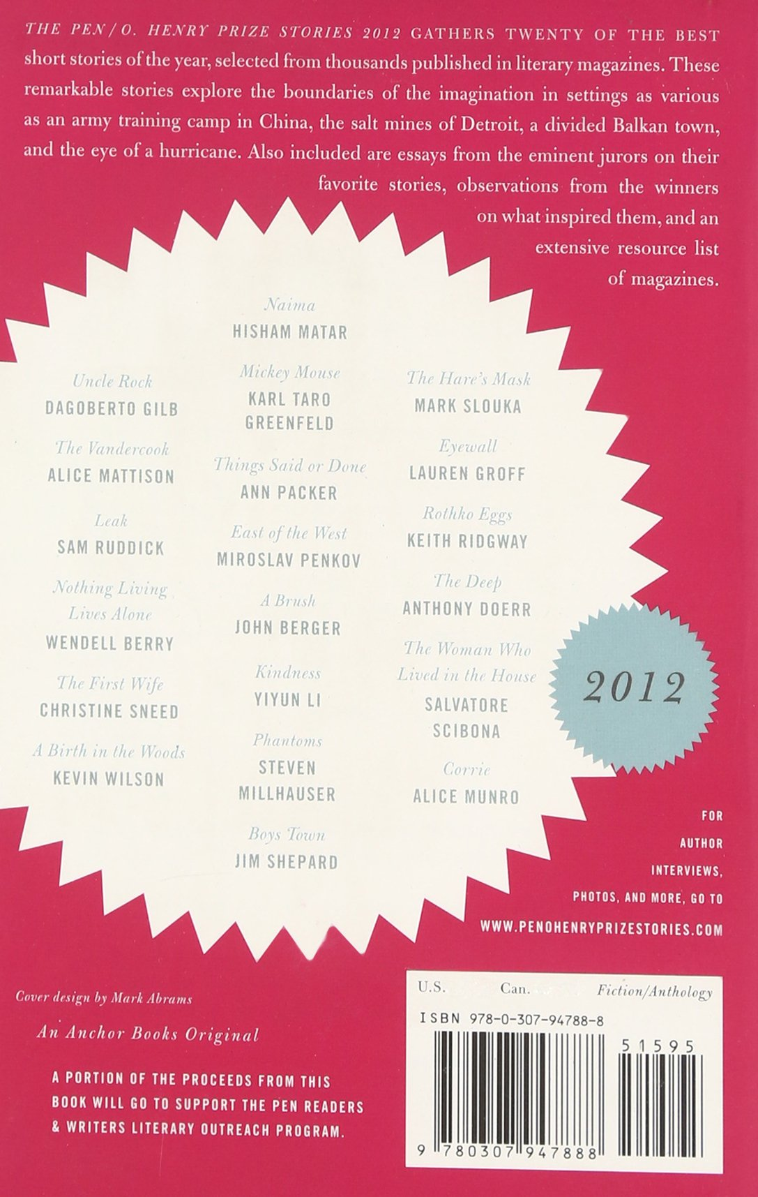 O Henry Prize Stories 2012: Including Stories By John Berger, Wendell  Berry, Anthony