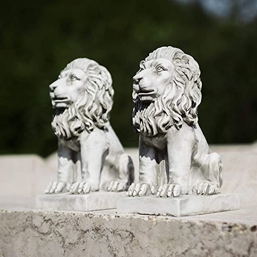Homezone 2 Piece Efecto de Piedra Resina Sentado Leones Animal Jardín Adornos Hecho a Mano Sculptures Césped Estatuas Decoración Antigua Flora Sculptures: Amazon.es: Jardín