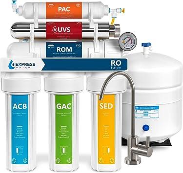Express - Sistema de filtración de ósmosis inversa ultravioleta alcalina de agua – 11 etapas ROUV mineralizador purificador