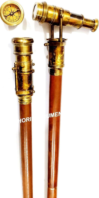 Maritime Nautical Walking Stick Vintage Telescope Handle Wooden Brown Cane Gift