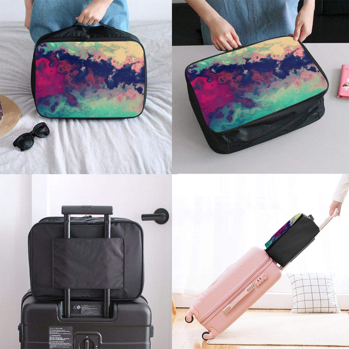 Travel Luggage Duffle Bag Lightweight Portable Handbag Green Red Large Capacity Waterproof Foldable Storage Tote