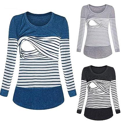 8a1e855ff16 Nacome Women Long Sleeve Breastfeeding Shirt Striped Patchwork Nursing Tops  (Black
