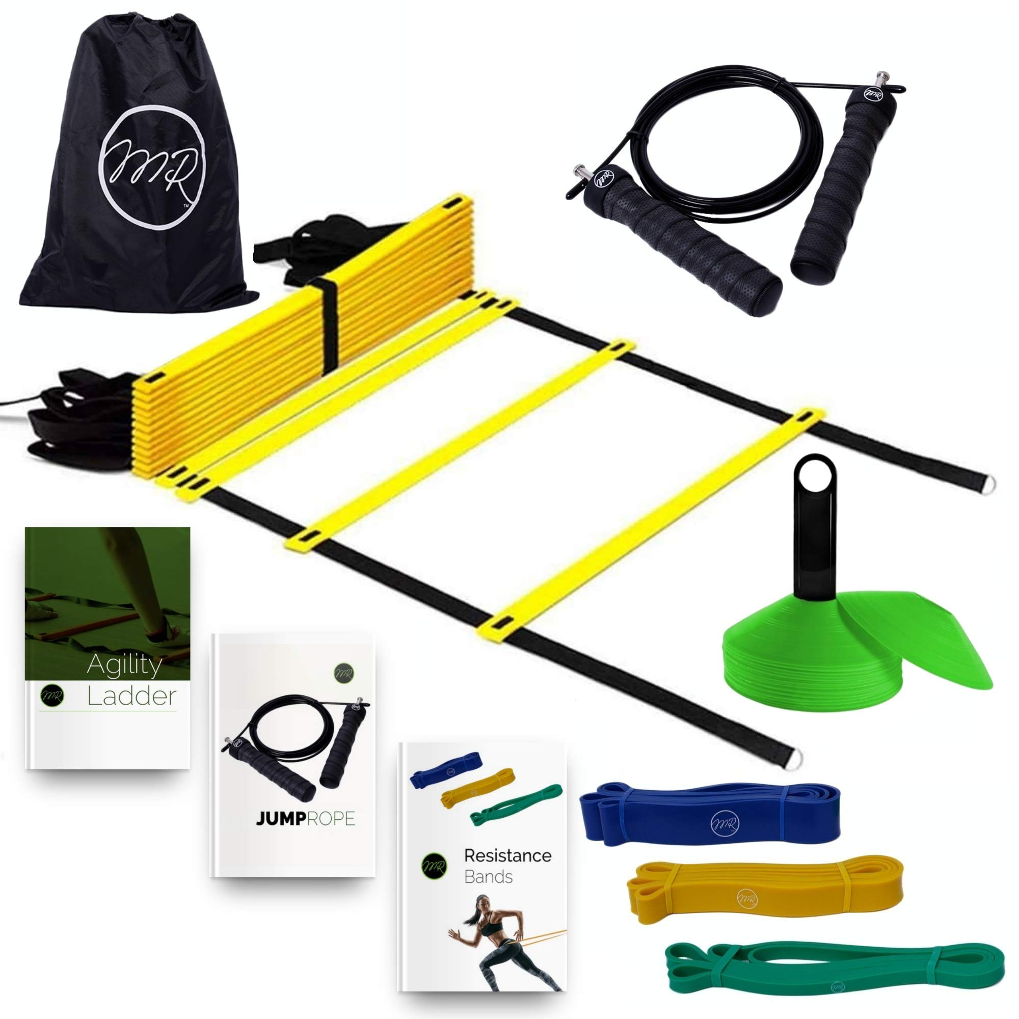 MRProdux Speed and Agility Training Equipment Set with eBook Workout Guides | Ladder, Cones, Resistance Bands, Speed Rope | Footwork, Endurance, Explosiveness Training | Football, Soccer, Basketball