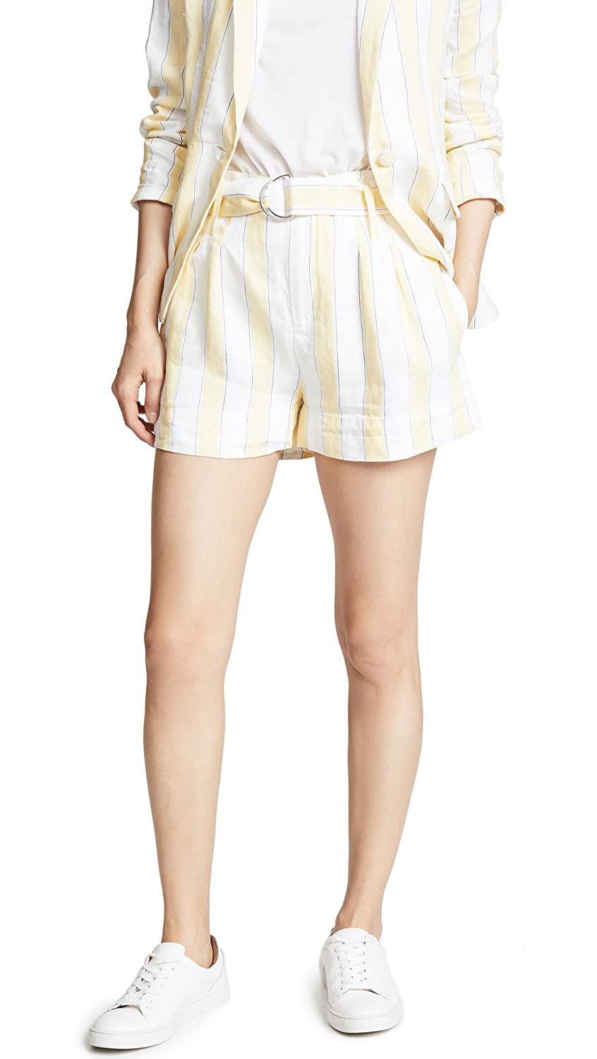 golden Haze Multi Frame Denim Womens Linen Striped HighWaist Shorts