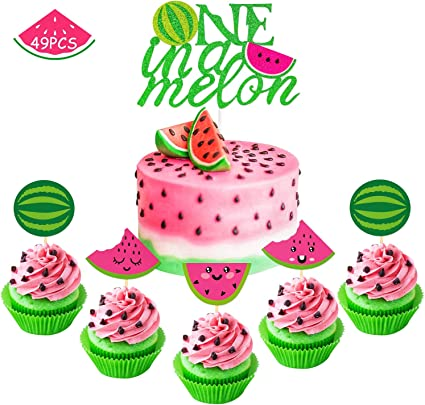Stupendous Watermelon Cupcake Topper One In A Melon Cake Topper Melon Themed Funny Birthday Cards Online Inifofree Goldxyz
