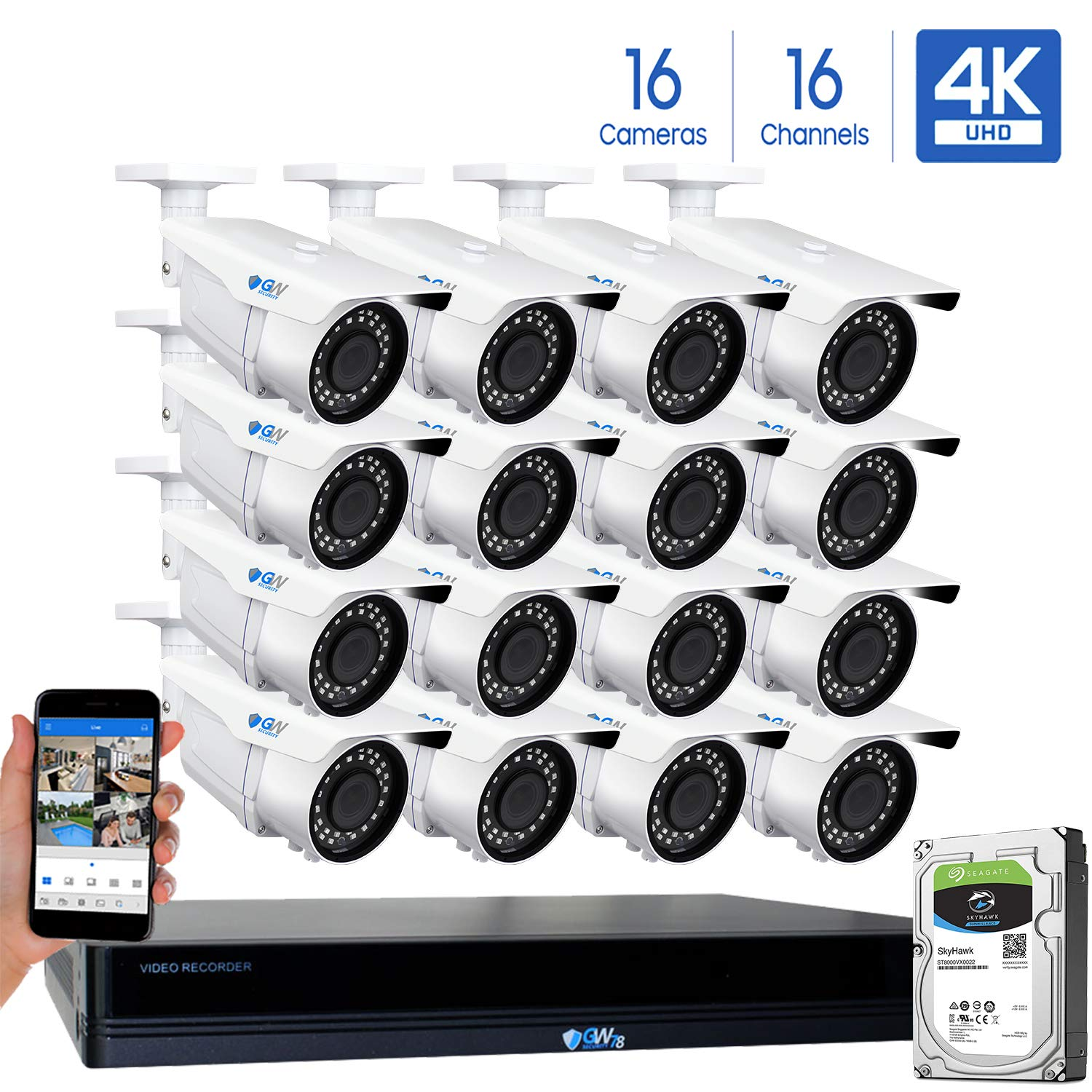GW 16 Channel 4K NVR 8MP 3840×2160 H.265 PoE Security Camera System – 16 x UltraHD 4K 2.7 13.5mm Varifocal Zoom 196ft IR 2160p IP Cameras – 8 Megapixel Four Times The Resolution of 1080p Full HD