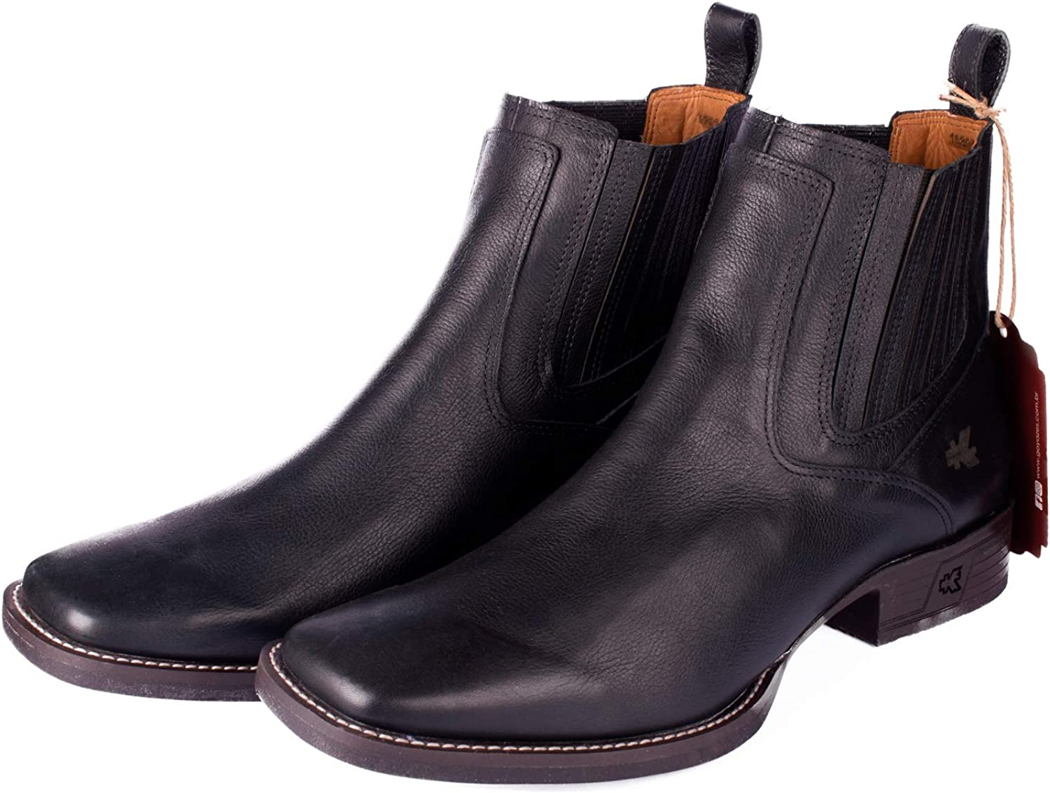 Mens Black Leather Chelsea Ankle Boot