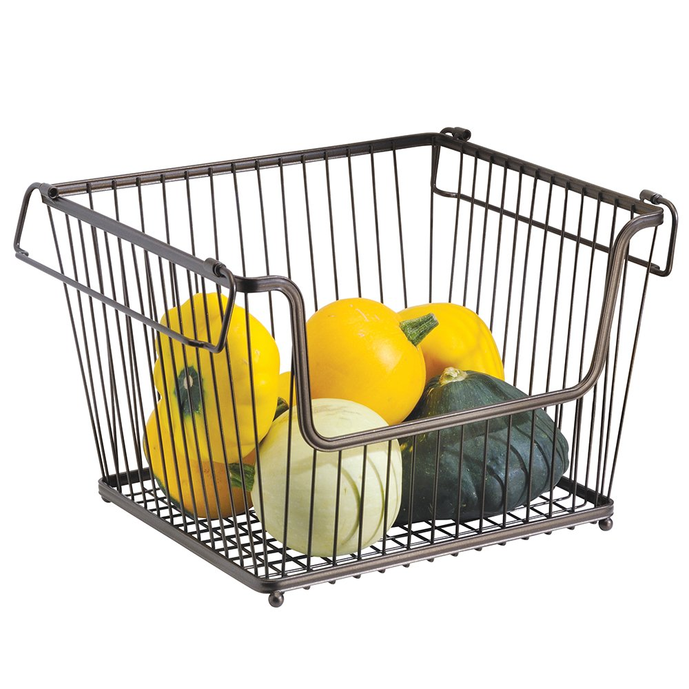 mDesign - Cesta almacenaje apilable con apertura frontal y asas color bronce - Organizador cocina de