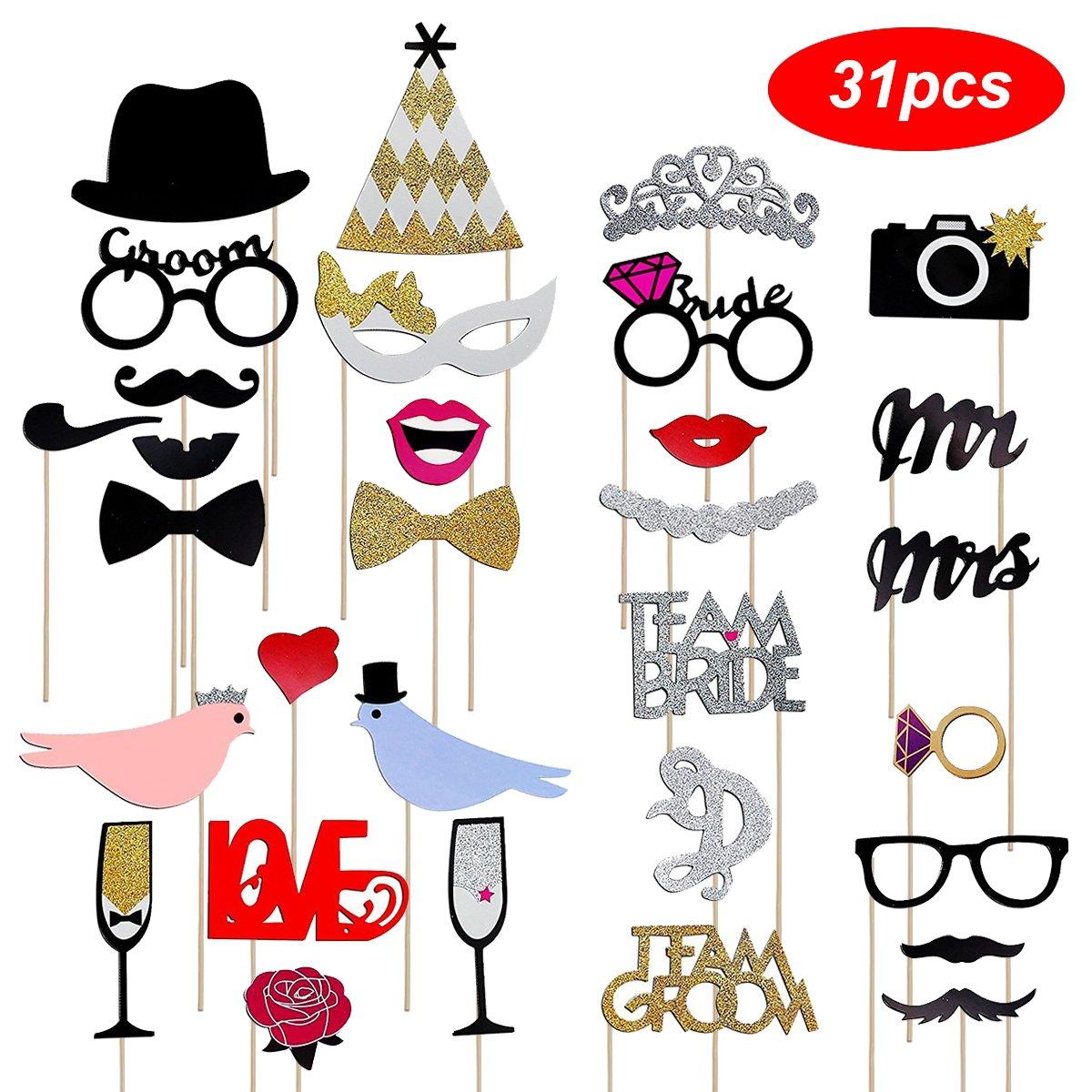 Aostar 31 PCS Photo Booth Props Photobooth pour Fête de Mariage Accessoires de bricolage colorés lunettes moustache lèvres nœud Papillon chapeaux sur bâtons pour mariage Parti Mariage Accessoir