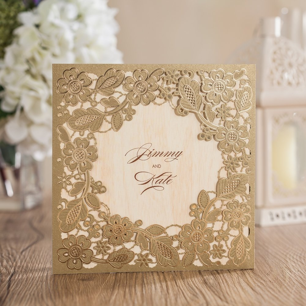 Wishmade 100X Printable Laser Cut Wedding Invitations Cards with Hollow Floral Card Stock For Engagement Birthday Party Baby Shower Bridal Shower Events CW5279