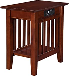Atlantic Furniture AH13214 Mission Chair Side Table with Charging Station, Walnut