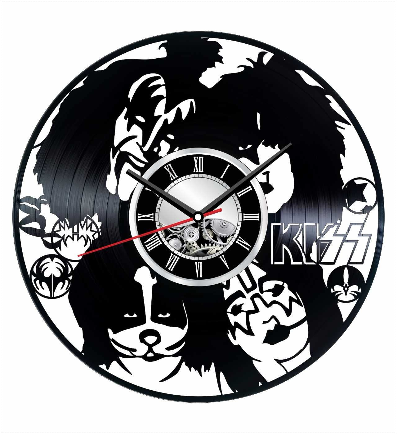 The Kiss Wall Clock Made of Vintage Vinyl Records - Stylish Clock and Amazing Gifts Idea – Unique Home Decor – Personalized Presents for Men Women Kids – Great for Living Room Bedroom Kitchen