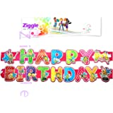 Ziggle Big Birthday Banner Glitter Decorated Happy Birthday Banner Very High Quality (5 Feet Length)