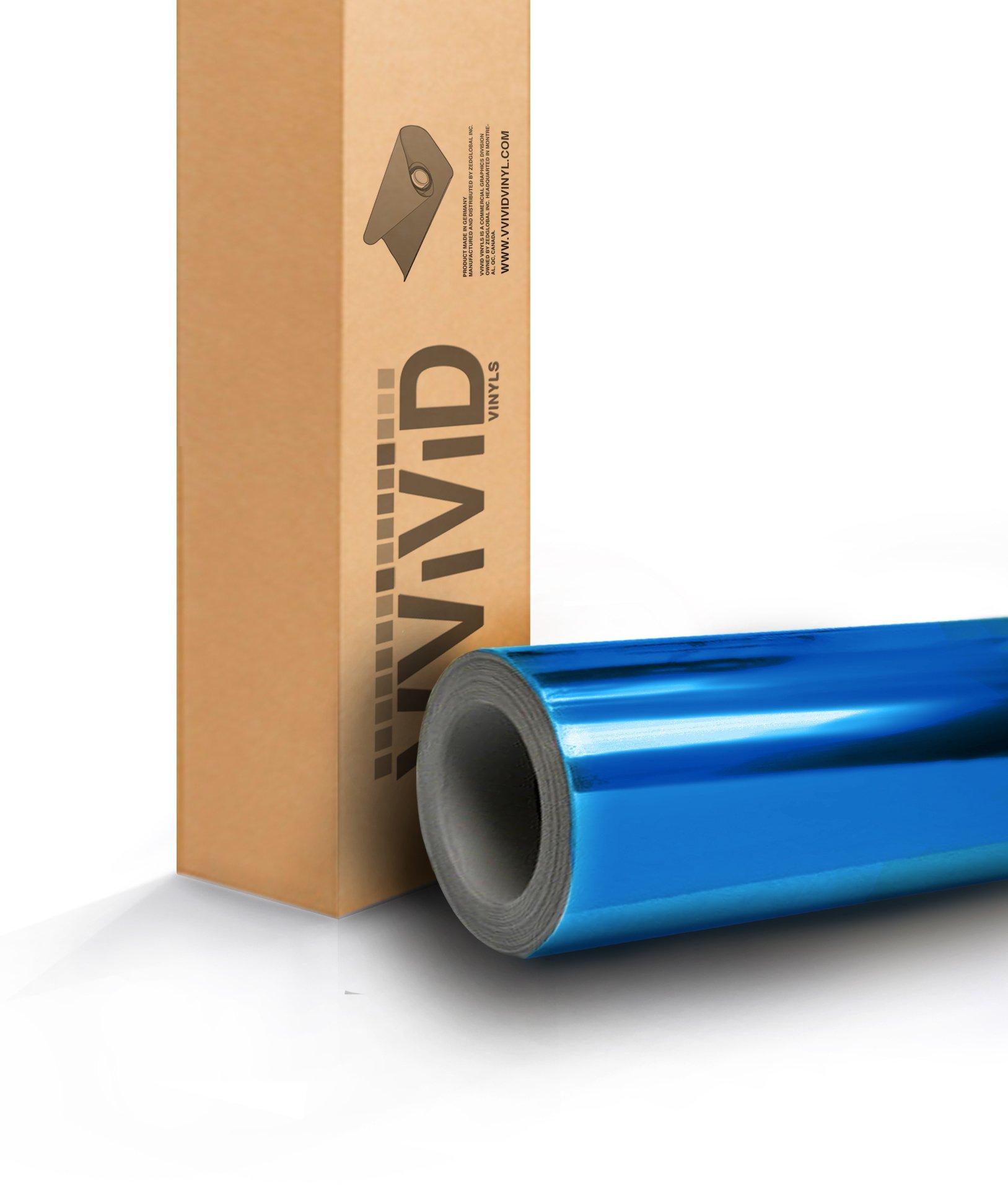 Blue Mirror Chrome Cast Vinyl Wrap Self-Adhesive Film Decal Air-Release Bubble and Air-Free 3MIL-VViViD8 (100ft x 5ft (Bulk Wrap Kit))