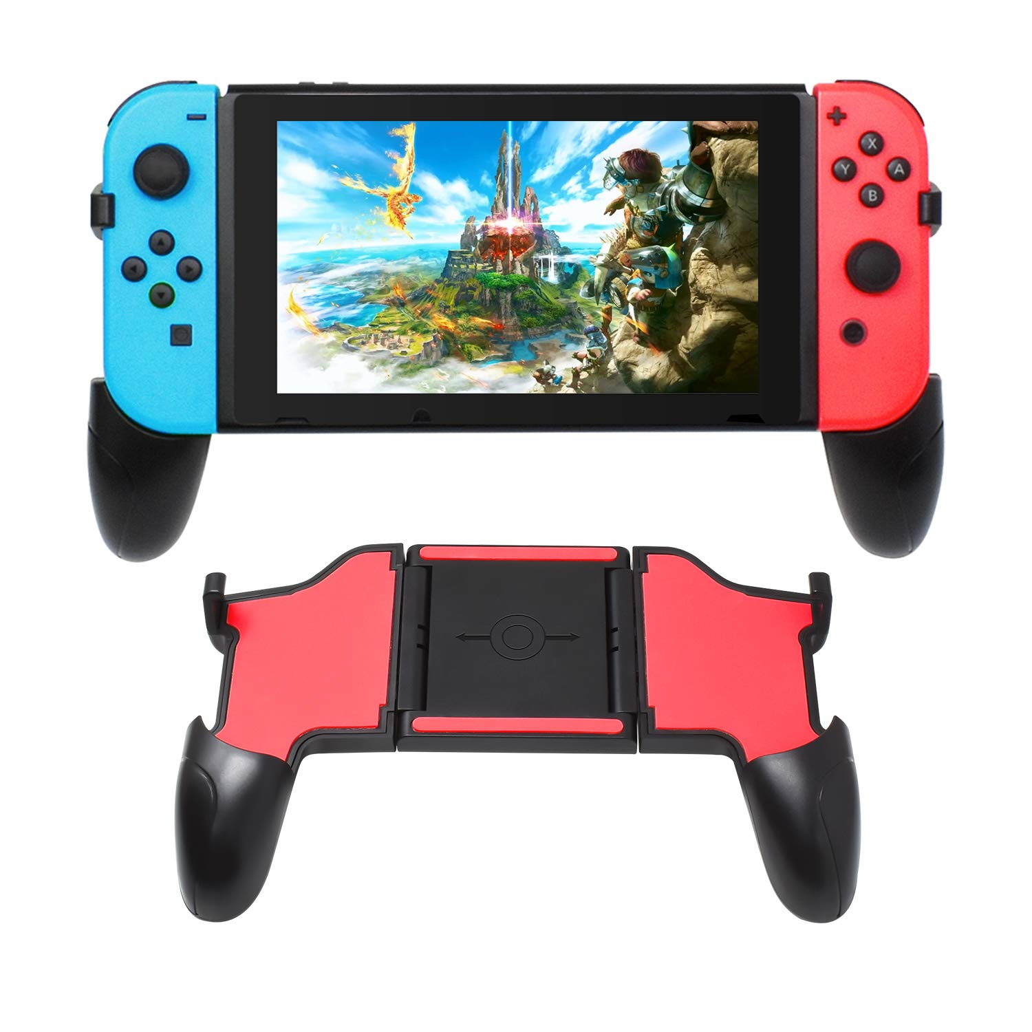 Hand Grip for Nintendo Switch with 2 Game Slots, Wider Controller Grip for Nintendo Switch by FYOUNG