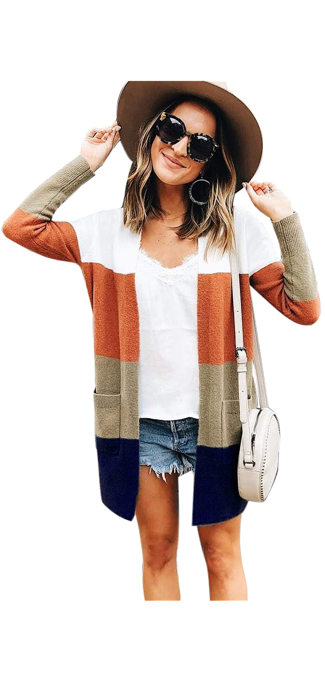 Womens Color Block Striped Draped Kimono Cardigan Long