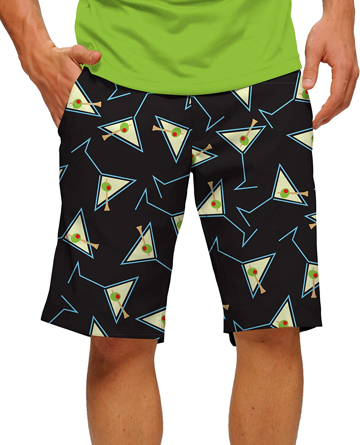 """Loudmouth Golf-StretchTech Poly-Fun Bright Drinks Tee Many Martoonies StretchTech Men's-Knee Length, 11"""" Inseam"""