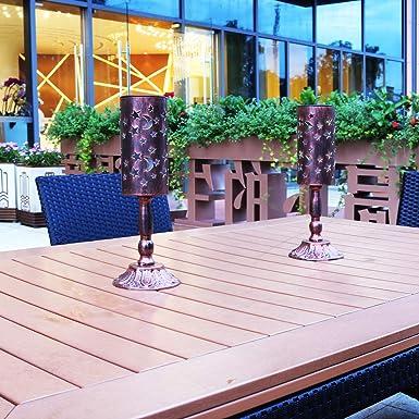 2 piezas de luces solares retro candelabro Lámpara de mesa solar para interiores, exterior Lámpara de mesa antigua casera (Bronce): Amazon.es: Iluminación