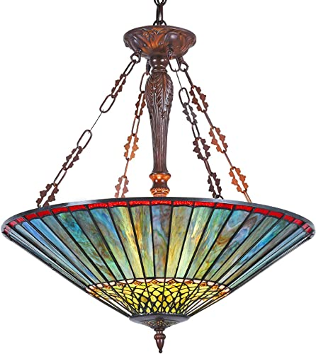 Capulina Tiffany Dining Table Lights, 3-Light Hanging Tiffany Style Lamp, Stained Glass Dining Room Lights, 24.4 Inches Wide Large Tiffany Inverted Ceiling Pendant Light for Foyer Living Room.
