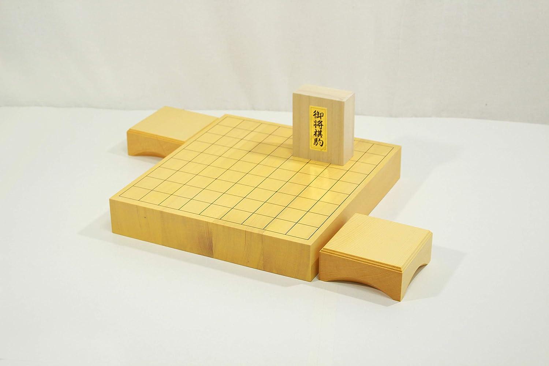 新榧将棋盤20号(2寸)卓上 将棋駒+駒台セット【楓漆書】
