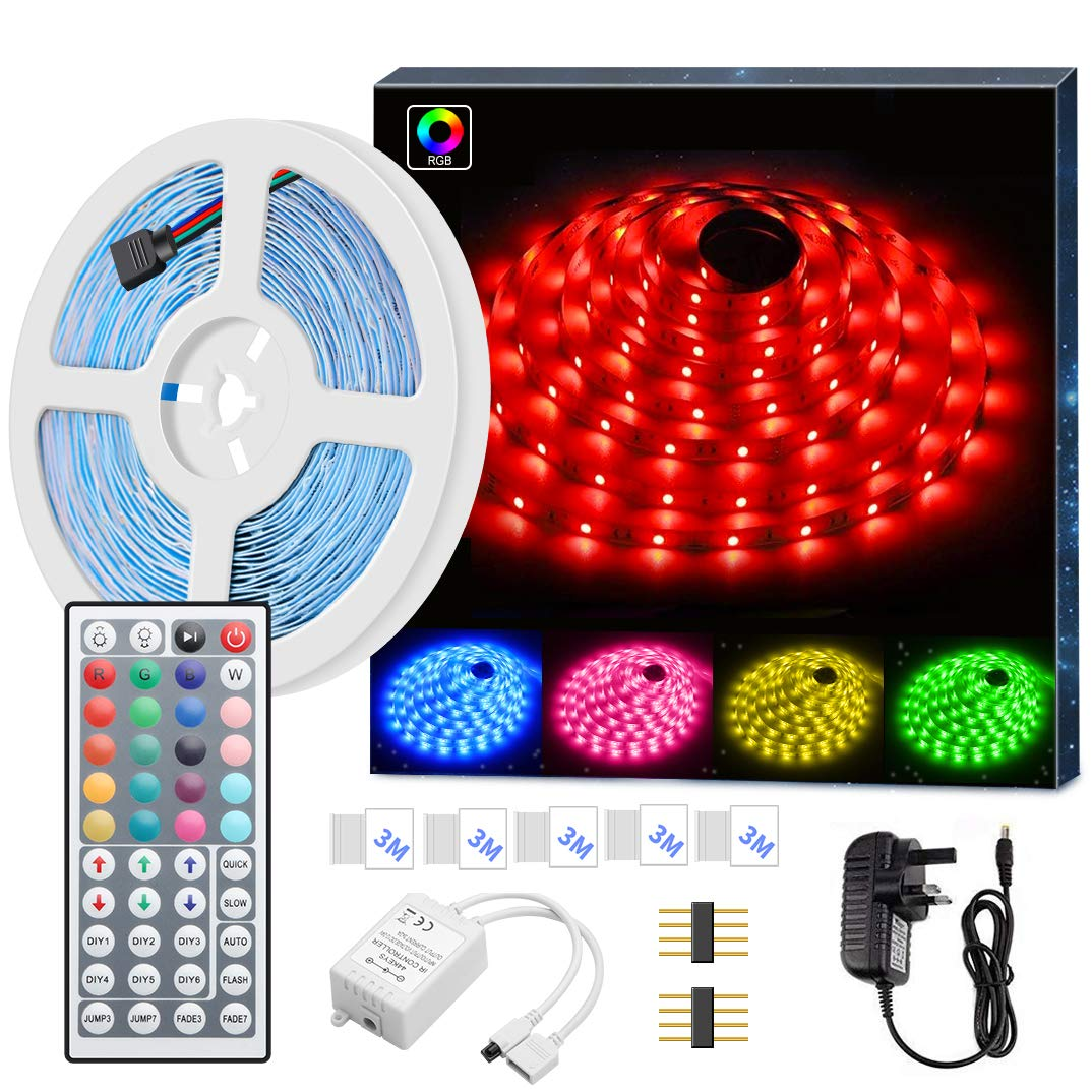 Power Adapter Included 16.4 Ft 150 LEDs SMD 5050 Flexible Waterproof Rope Lighting with 44 IR Controller MINGER RGB LED Light Strip 5M