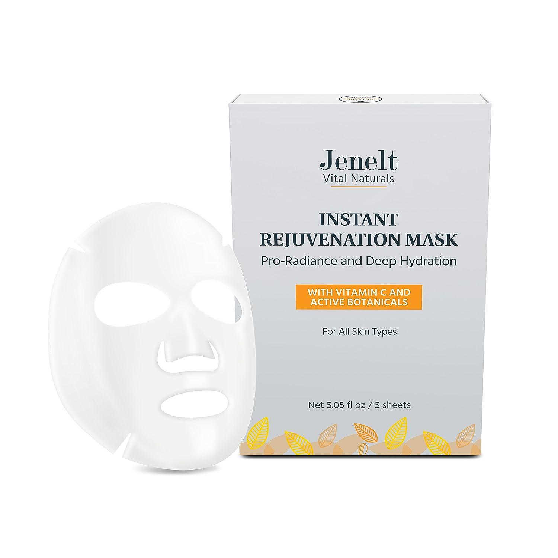 Instant Rejuvenation Mask - Vitamin C, Hyaluronic Acid, Active Botanicals - Deep Hydration, Brightening, Refreshing (5 masks/box)
