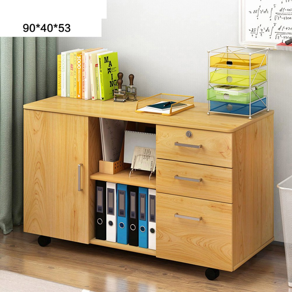 Simple wooden office cabinet Console file cabinet Removable low cabinet Lock Drawer data cabinet [lockers] Bedroom table-M