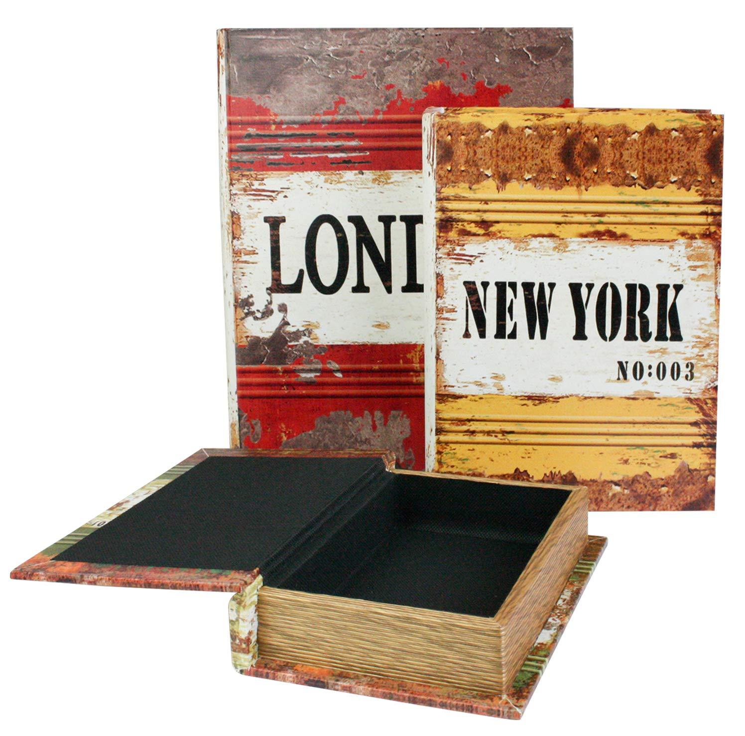 Dinero Llaves Vintage Libro Secreto del Regalo De La Caja De Almacenamiento London New York Paris Emartbuy Conjunto De 3 Keepsafe Joyas