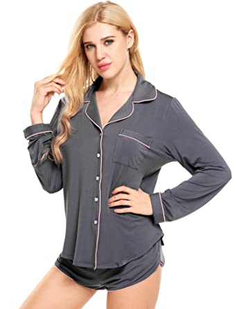 798523f5b Ekouaer Loungewear Set Women s Soft Long Sleeve Sleepwear Long Sleeve  Pajamas (Grey ...