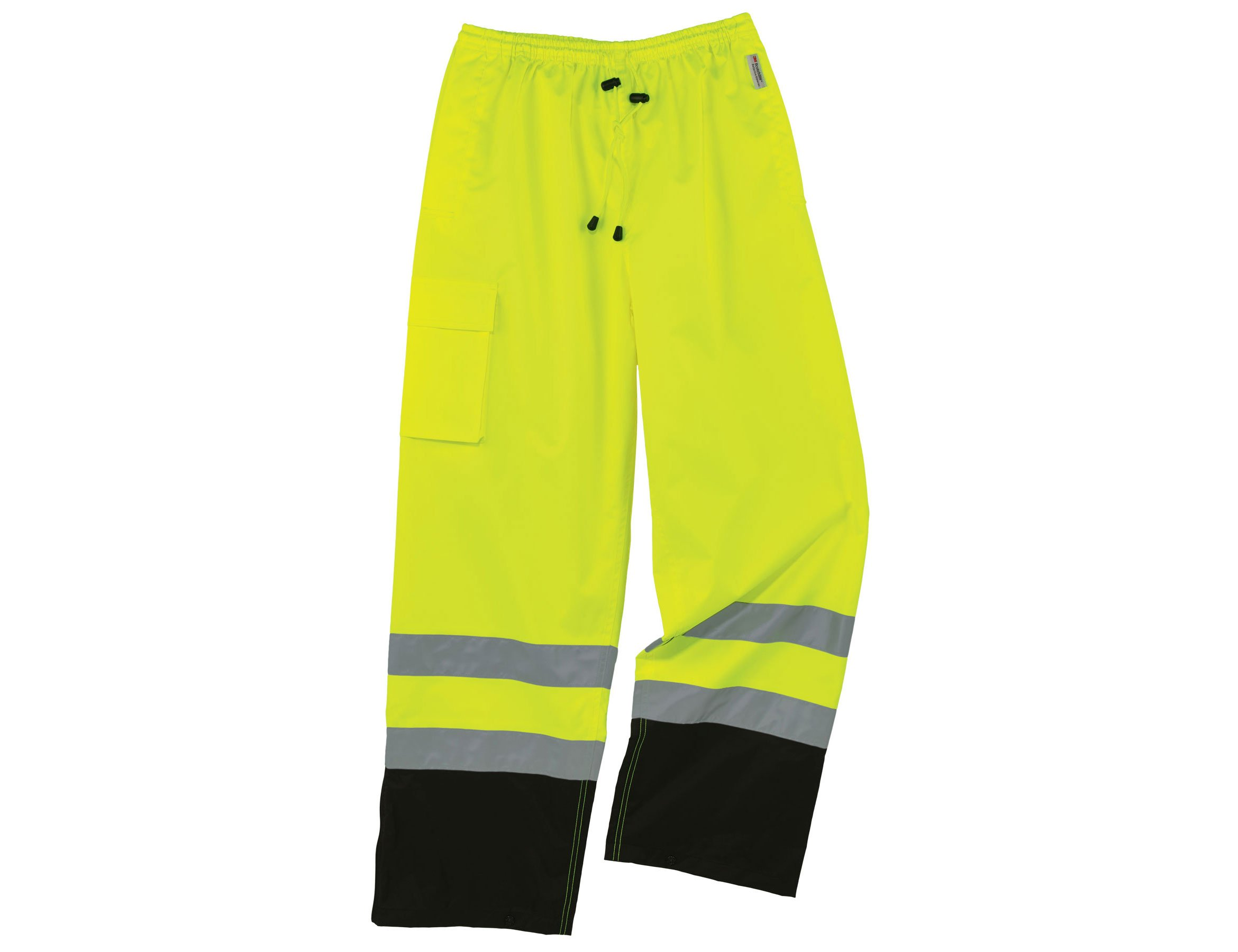 Ergodyne GloWear 8915BK ANSI Black Bottom High Visibility Lime Safety Rain Pants, 5XL