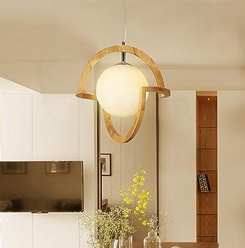 AMZH lámpara Colgante de Madera Maciza nórdica Creativo ...