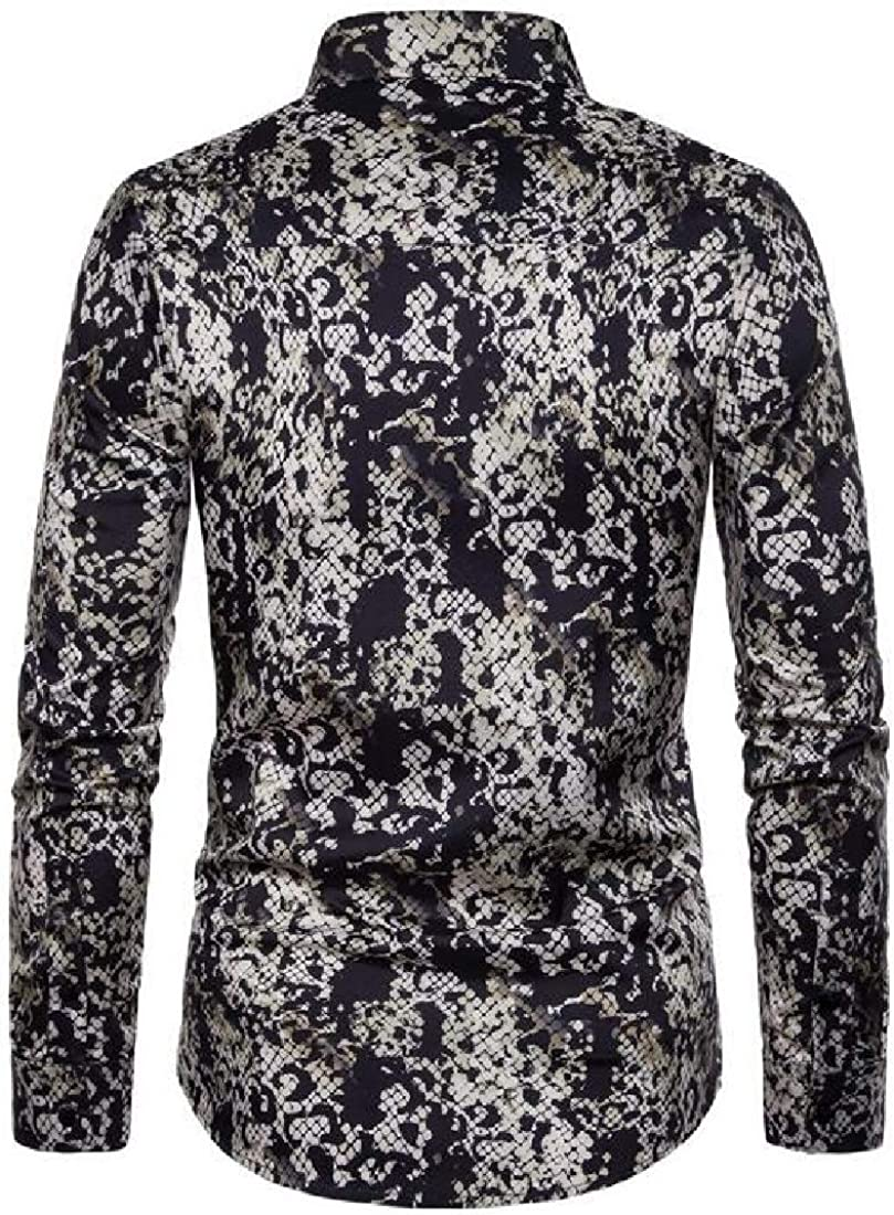 YYG Mens Shirts Casual Button Up Long Sleeve Snakeskin Print Loose Shirt Top