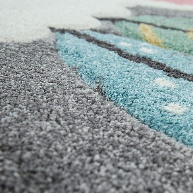 Gr/össe:/Ø 120 cm Rund Paco Home Teppich Kinderzimmer Grau 3-D Motiv Alpaka Design Pastellfarben Weich Robust