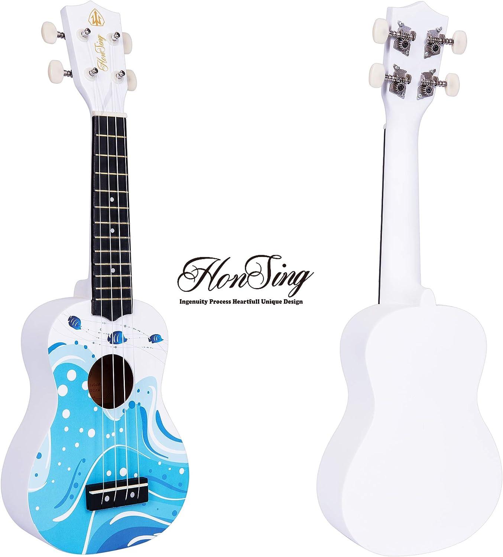 Honsing Kids Ukulele,Soprano Ukulele Beginner,Hawaii kids Guitar Uke Basswood 21 inches with Gig Bag-Multicolor Stripe