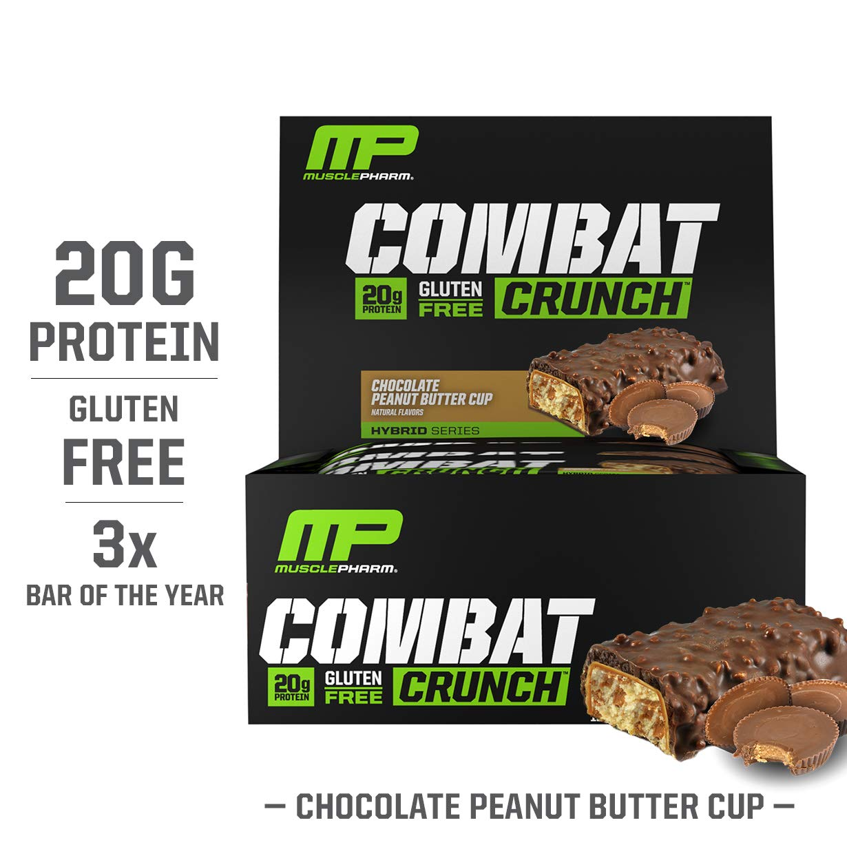 MusclePharm Combat Crunch Protein Bar, Multi-Layered Baked Bar, Gluten-Free Bars, 20 g Protein, Low-Sugar, Low-Carb, Gluten-Free, Chocolate Peanut Butter Cup Bars, 12 Servings by Muscle Pharm