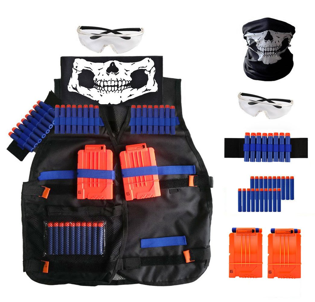 Locisne Tactical Vest Kit for Nerf N-Strike Elite Series, Refill Foam Darts, Quick Reload Clips, Tactical Vest, Hand Wrist Band, Vision Gear Eyewear, Face Tube Mask by Locisne