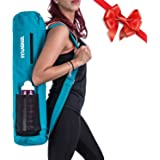 "100% Cotton Yoga Bag by Toughd | Turquoise Yoga Mat Bag 26""x7"" with 3 Big Storage Pockets 