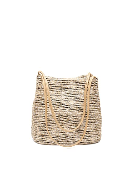 Howoo Pequeña Bolsa de Paja Bolsa de Tejido Bolsa de Playa de Verano Bolsa de Hombro Bolso Bolsa de Cubo para Mujeres/niñas Caqui