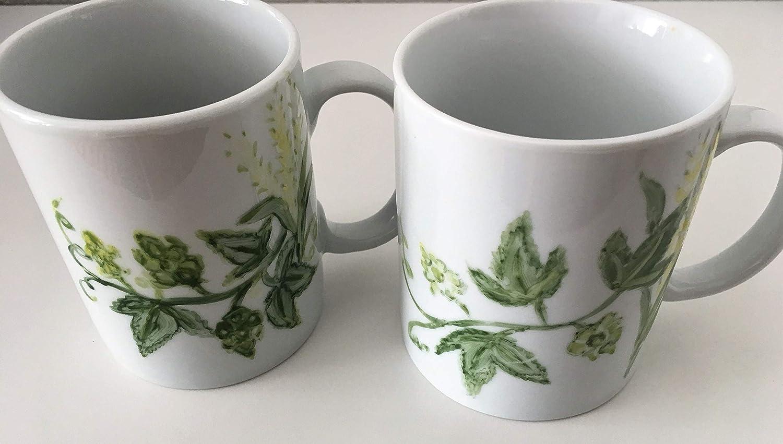 MaJe ceramista set 1 tazas esmaltadas porcelana pintada a mano lupulo y cebada jarra cerveza.
