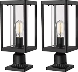 Beionxii Outdoor Post Lantern | 2-Pack Modern Exterior Pillar Lamp with 3-Inch Pier Mount Base, Sand Textured Black Cast Aluminum with Clear Cylinder Glass - A291P-2PK