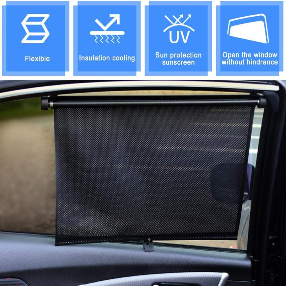 Car Window Sun Shade Covers Front windshield Sunshades for Baby Roller Blind Retractable Auto Sunshade Protector Blocks UV Rays to Protect Kids Truck Pets&Passengers Flexible Size for Sedan SUV
