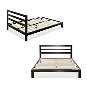 Zinus Modern Studio 10 Inch Platform 2000H Metal Bed Frame / Mattress Foundation / Wooden Slat Support / with Headboard, King