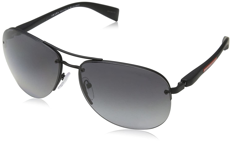 Prada Sport Herren Sonnenbrille 0PS53NS DG02E0, Schwarz (Black Rubber/Polar Grey Water), 65