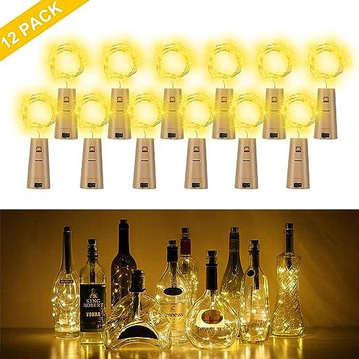 LED Lichterkette Flaschenlicht für Weinflasche Warmweiß Leuchte Batteriebetrieb