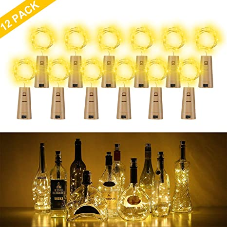 Botella de luz, ALED LIGHT 12 Pack Botellas de Vino Luces 20 LED Luz de Bricolaje Corcho Micro Luces LED para Botella de Vino para Boda, Fiesta, ...