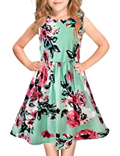 Girls Cotton Long Sleeve Dress 3 4 5 6 7 Kids Skater Floral Casual Evening Midi