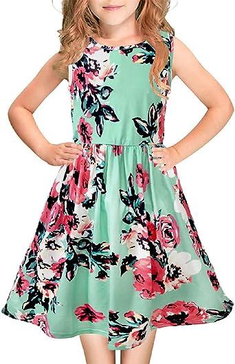 Casual 3//4 Sleeve T Shirt Dresses Pocket 21KIDS Girls Floral Maxi Dress